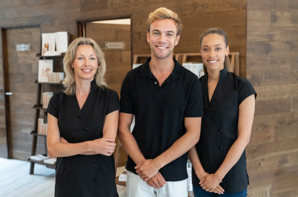Massage therapists at full body massage clinic